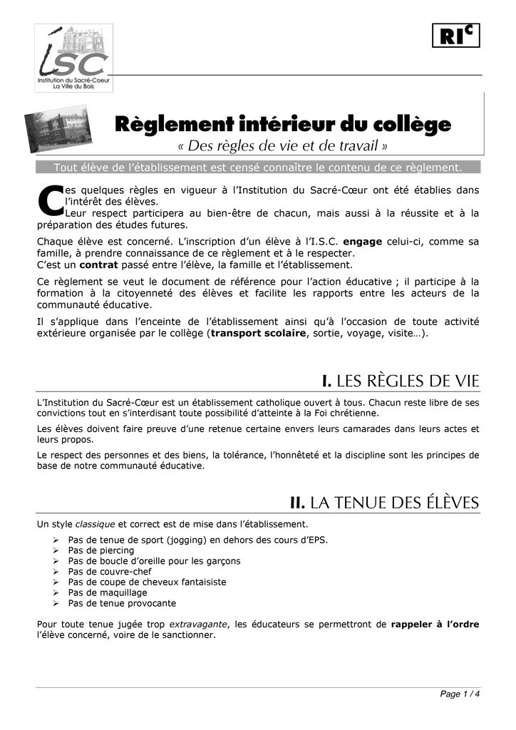 R glement int rieur au coll ge institution du sacr for Le reglement interieur